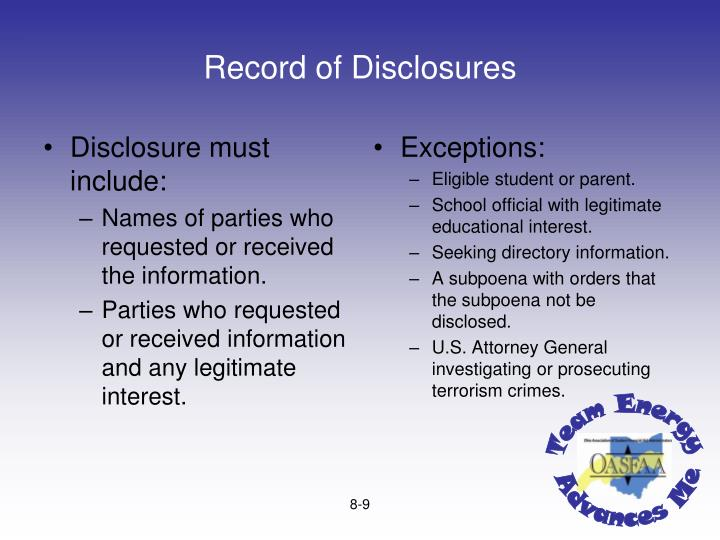 Disclosure must include: