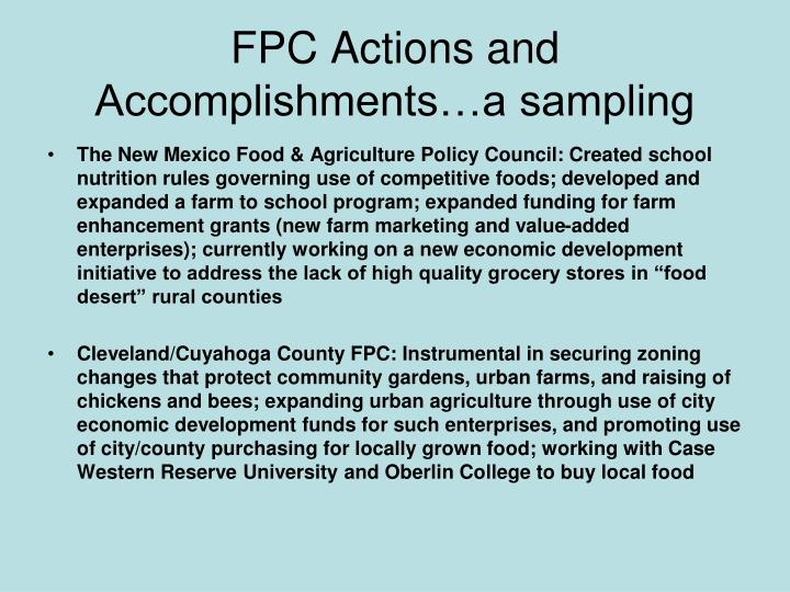 FPC Actions and Accomplishments…a sampling