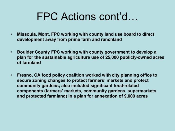 FPC Actions cont'd…
