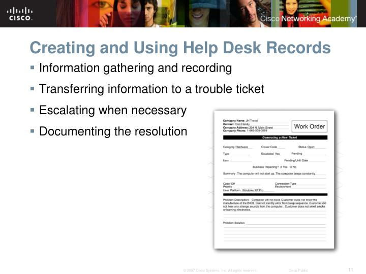 Creating and Using Help Desk Records