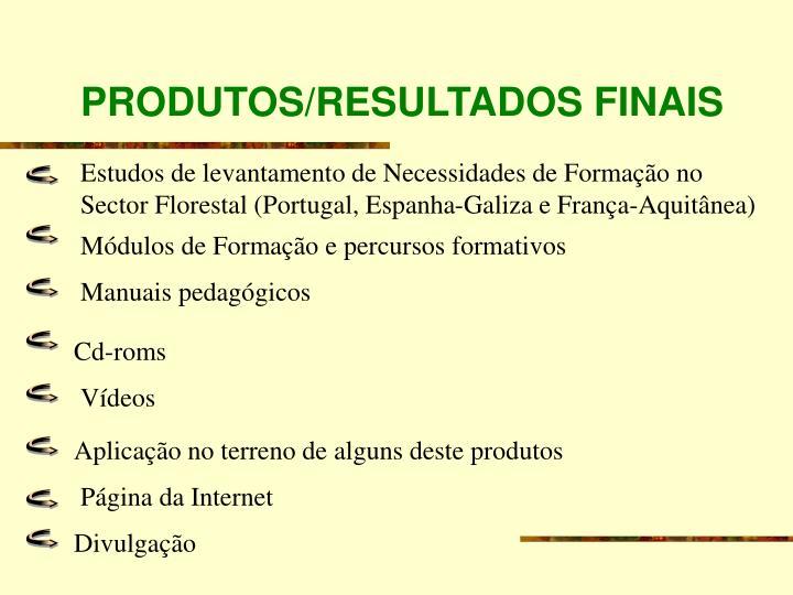 PRODUTOS/RESULTADOS FINAIS