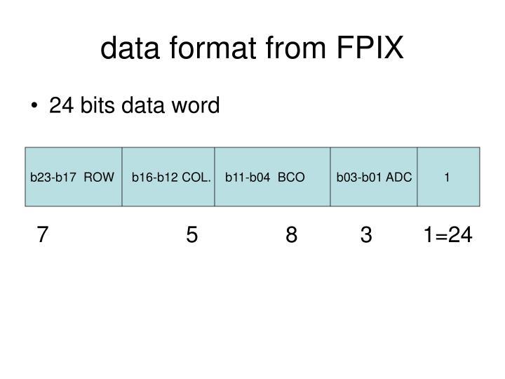 data format from FPIX