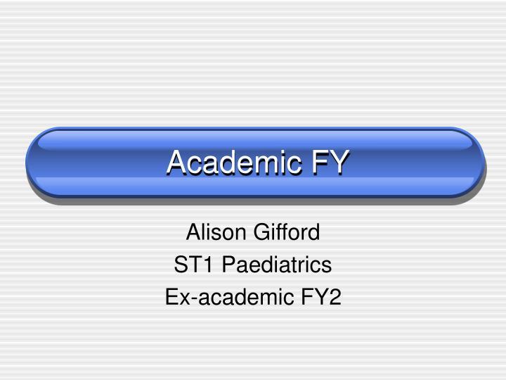 Academic FY