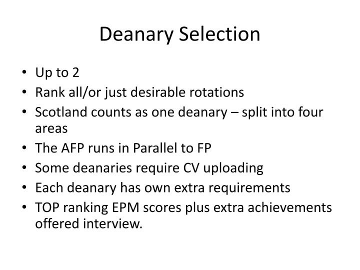 Deanary Selection
