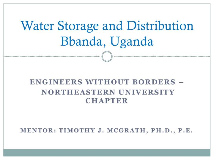 Water Storage and Distribution
