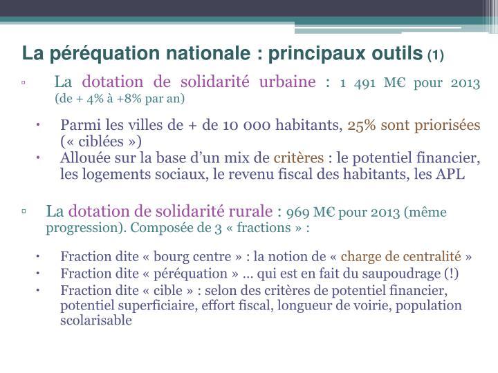 La péréquation nationale : principaux outils
