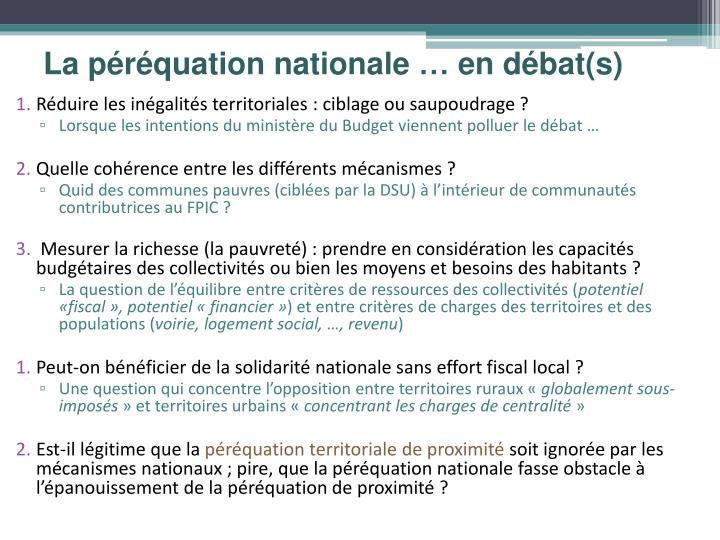 La péréquation nationale … en débat(s)