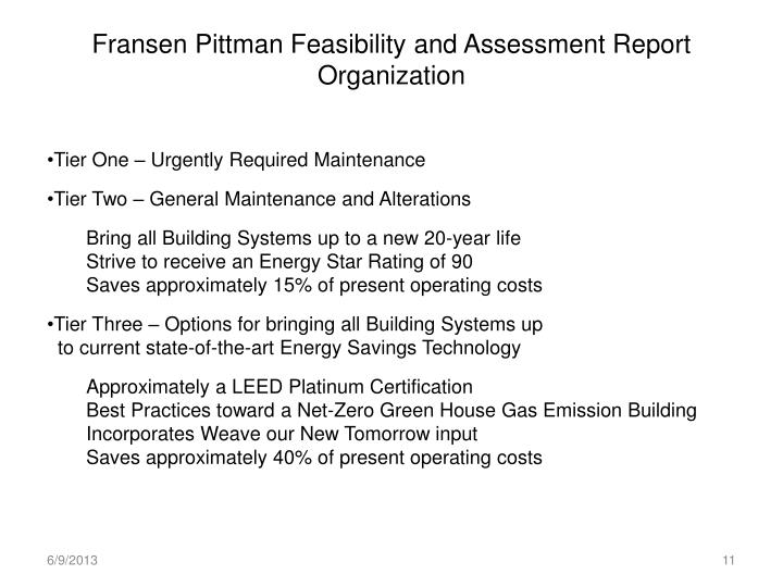 Fransen Pittman Feasibility and Assessment Report Organization