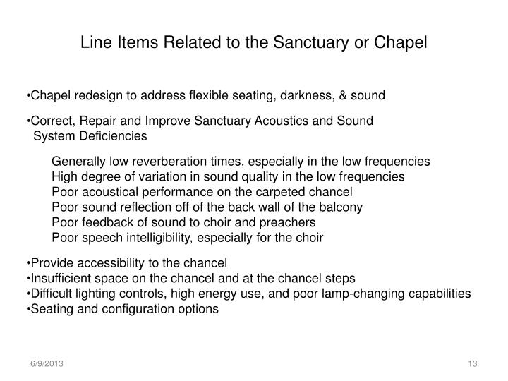 Line Items Related to the Sanctuary or Chapel