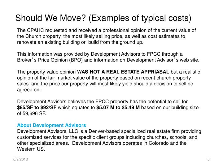 Should We Move? (Examples of typical costs)