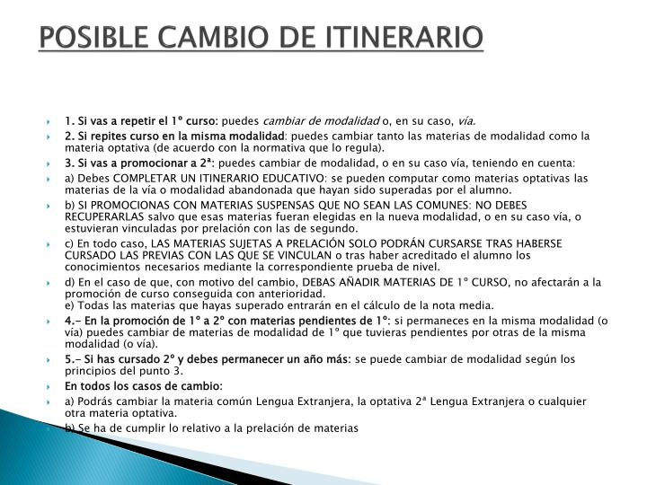 POSIBLE CAMBIO DE ITINERARIO