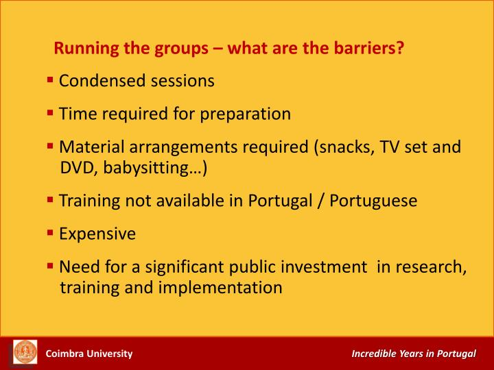 Running the groups – what are the barriers?