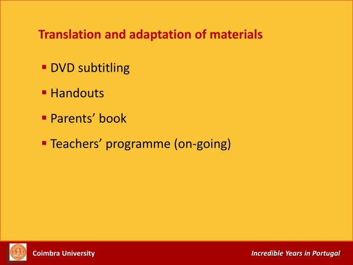 Translation and adaptation of materials