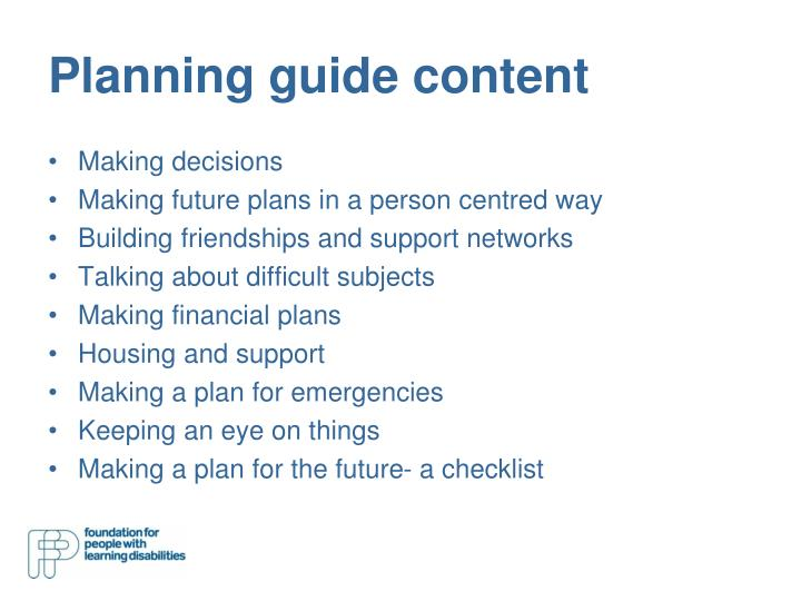 Planning guide content