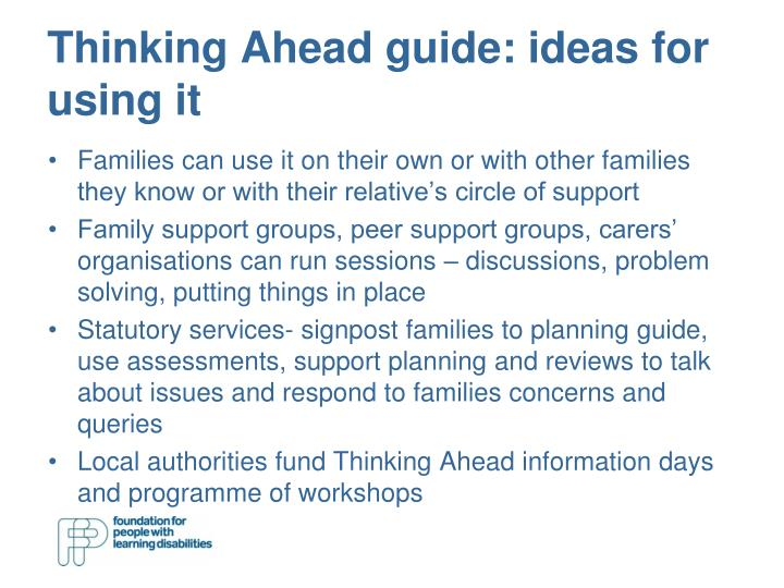 Thinking Ahead guide: ideas for using it
