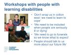 workshops with people with learning disabilities