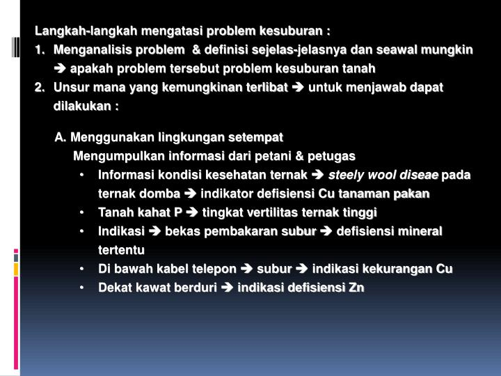 Langkah-langkah mengatasi problem kesuburan :