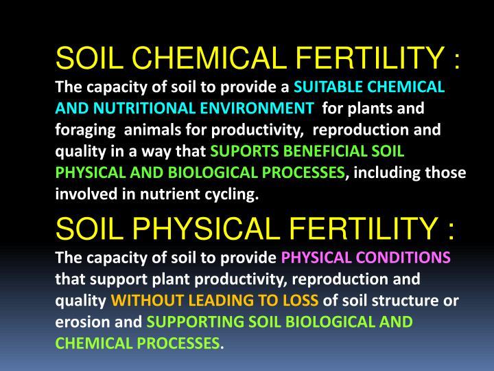 SOIL CHEMICAL FERTILITY