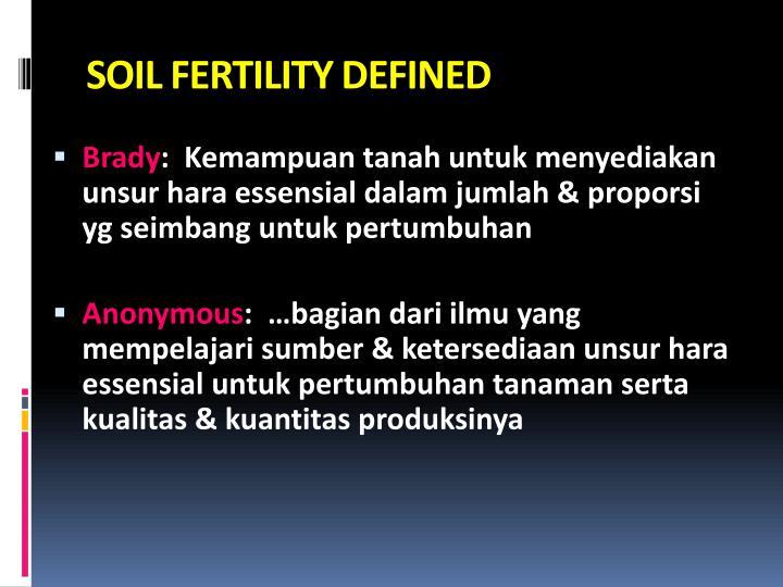 SOIL FERTILITY DEFINED