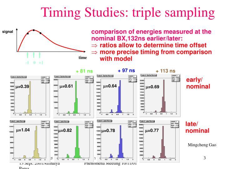 Timing Studies: triple sampling