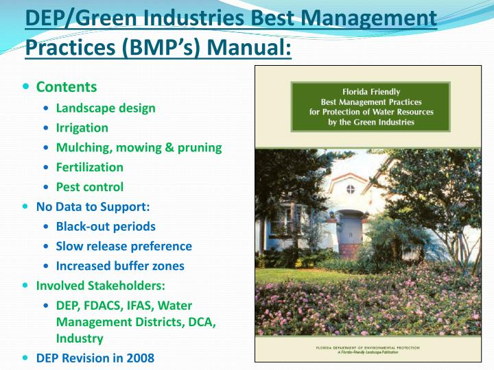 DEP/Green Industries Best Management Practices (BMP's) Manual: