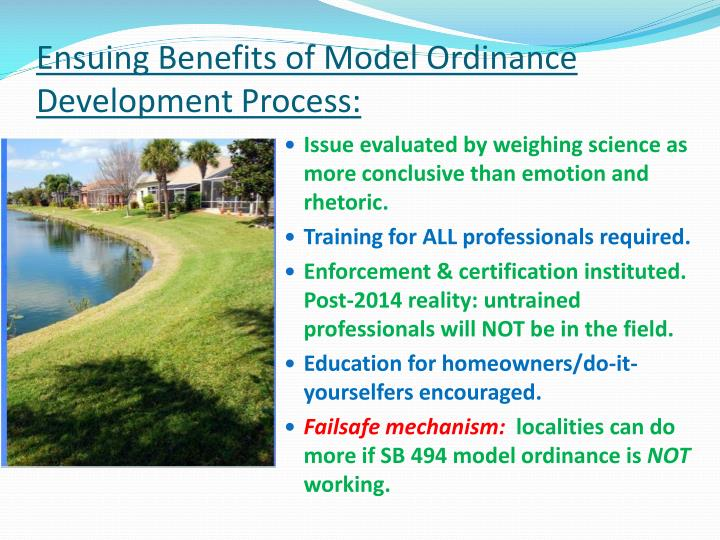 Ensuing Benefits of Model Ordinance Development Process: