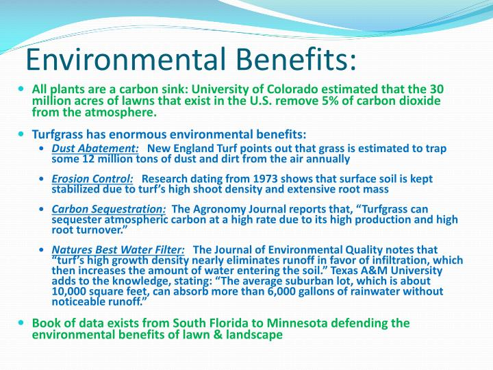 Environmental Benefits: