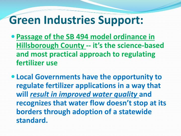 Green Industries Support: