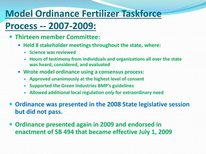 Model Ordinance Fertilizer Taskforce Process -- 2007-2009: