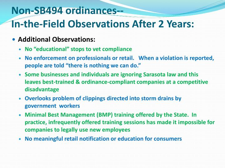 Non-SB494 ordinances--