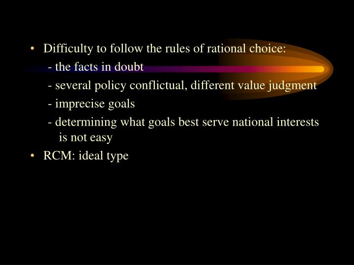 Difficulty to follow the rules of rational choice: