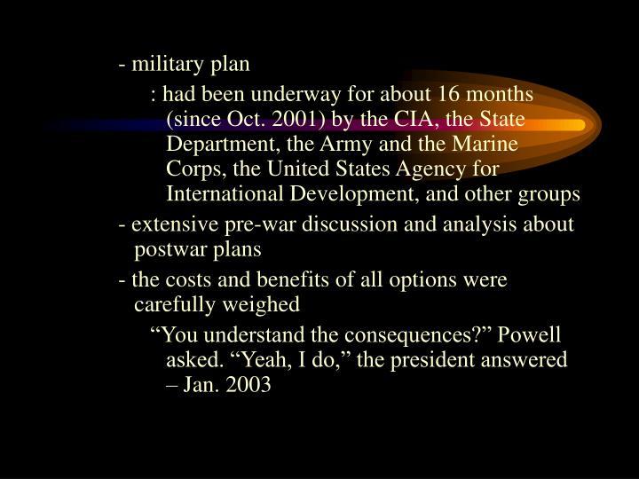 - military plan