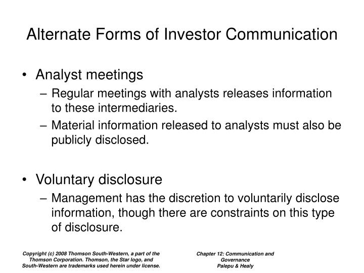 Alternate Forms of Investor Communication