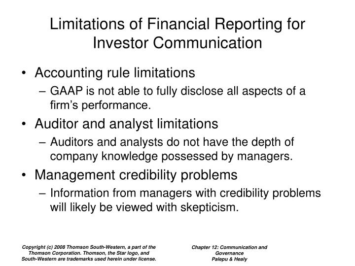 Limitations of Financial Reporting for Investor Communication