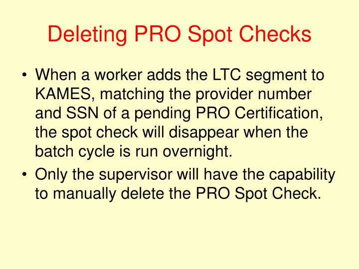Deleting PRO Spot Checks