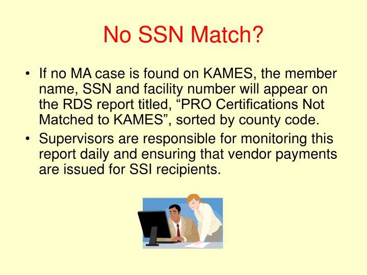 No SSN Match?