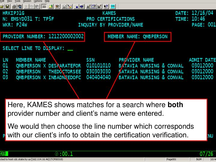 Here, KAMES shows matches for a search where