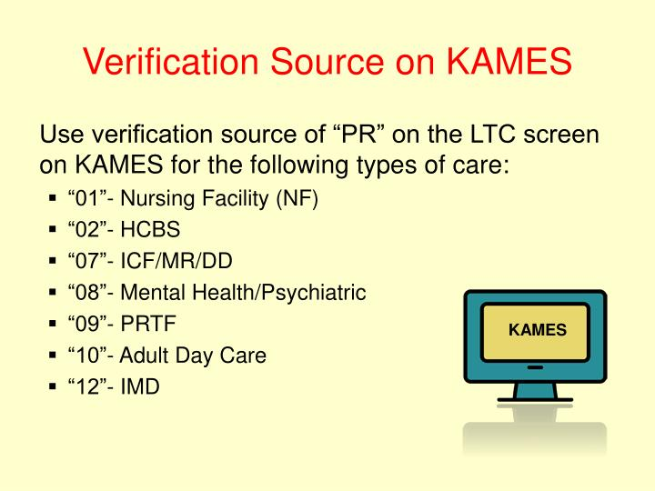 Verification Source on KAMES