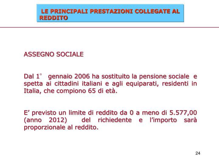 ASSEGNO SOCIALE