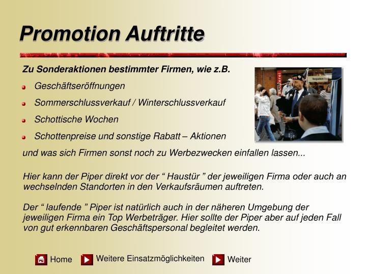 Promotion Auftritte