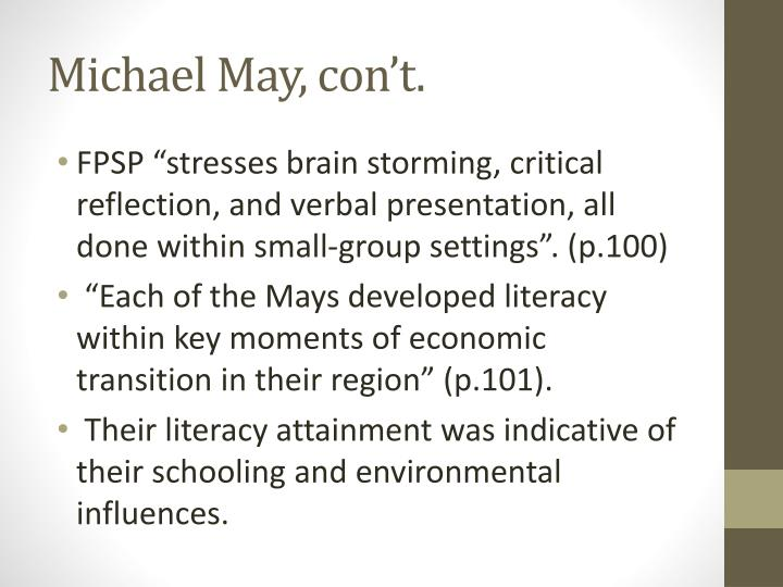 Michael May, con't.