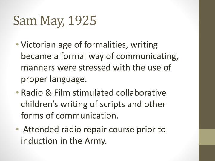 Sam May, 1925
