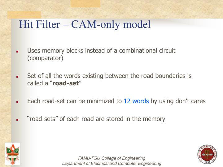 Hit Filter – CAM-only model