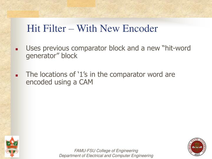 Hit Filter – With New Encoder