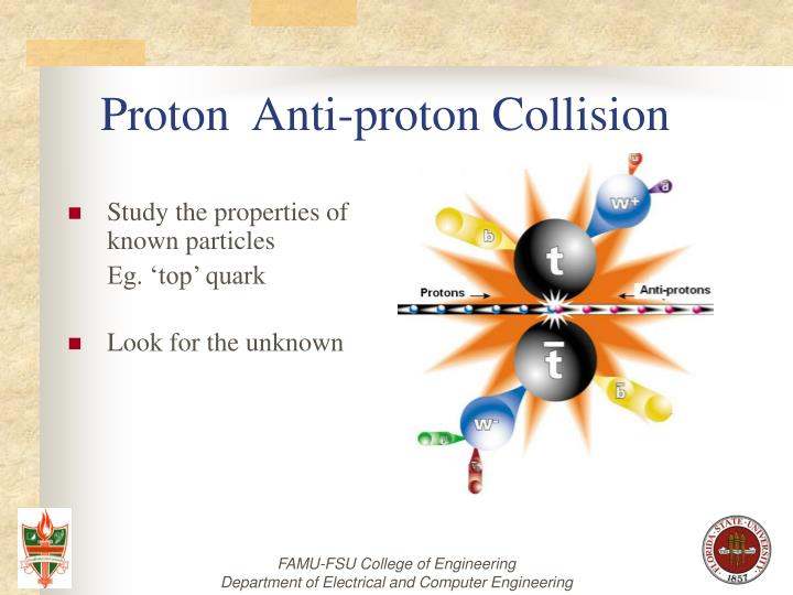 Proton anti proton collision