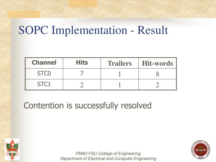SOPC Implementation - Result