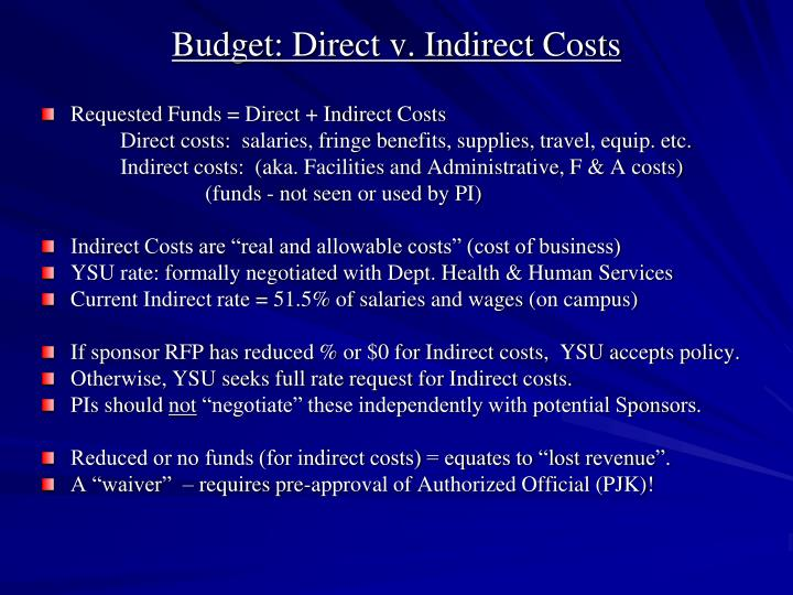 Budget: Direct v. Indirect Costs