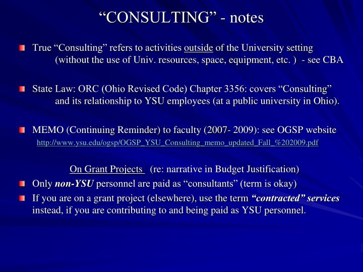 """CONSULTING"" - notes"