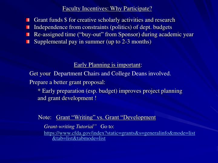 Faculty Incentives: Why Participate?