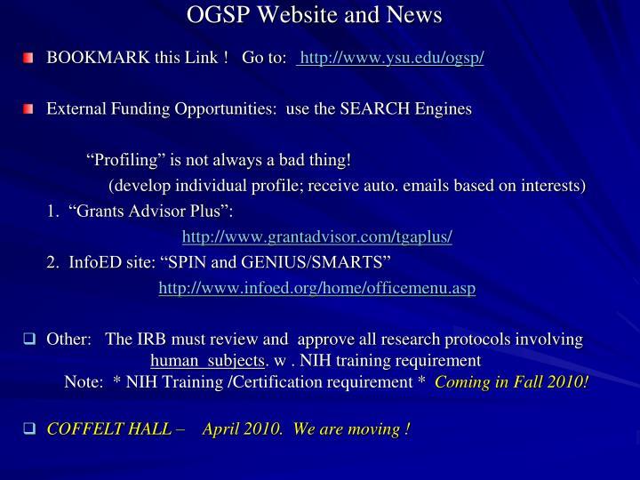 OGSP Website and News